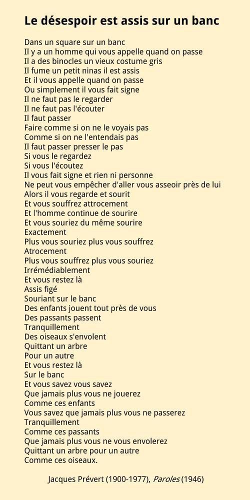 Jacques Prévert Le Désespoir Est Assis Sur Un Banc Poeme