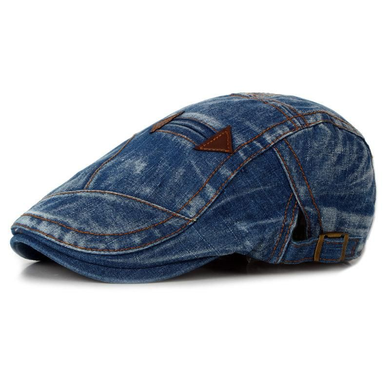 17c229242ee Fashion Summer Mens Washed Vintage Denim Beret Caps Casual Flat Sun Cap for  Cowboy