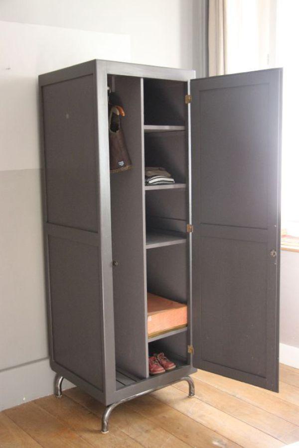 armoire industruielle, vestiaire de pensionnat, dressing, rangement - Renovation Meuble En Chene