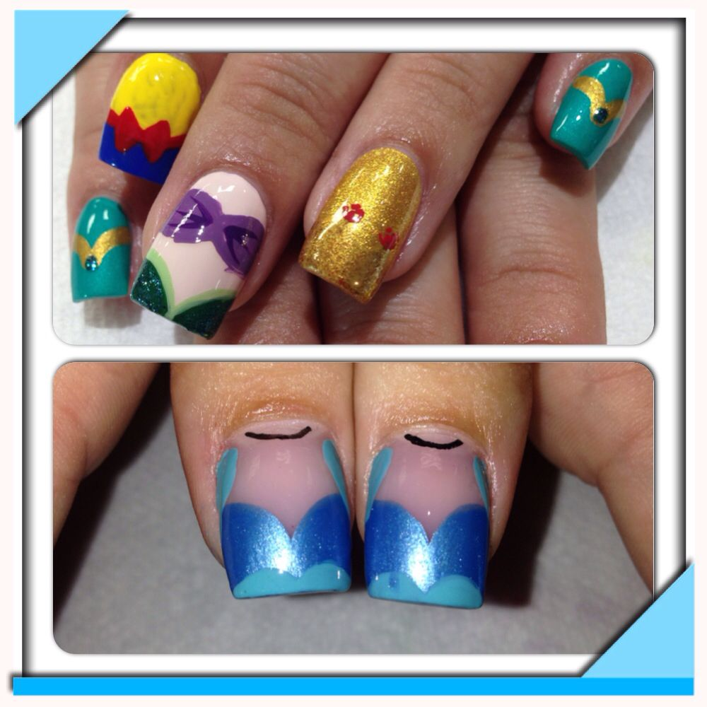Disney Princess Tiana Waterfall Nail Art: Princess Nail Art Design