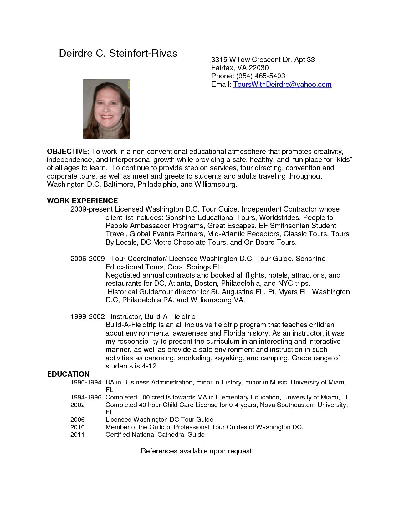 Tour Guide Resume Cover Letter Printable Examples Resumes