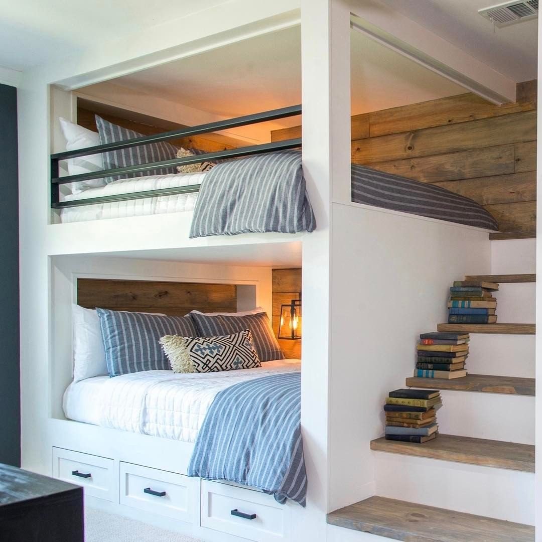 Built In Bunk Beds With Stairs Love The Raw Wood Planking On Wall