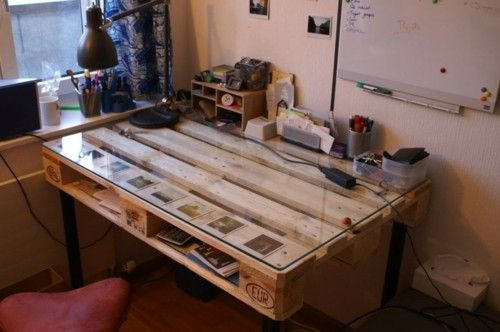 Desk Itself Building DIY Office Euro Pallet Ideas Wooden Pallet Glass