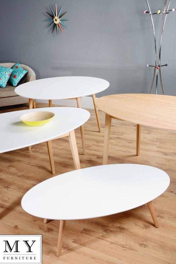 Tretton Retro Solid Oak Or Lacquered White Round Oval Dining Coffee Table