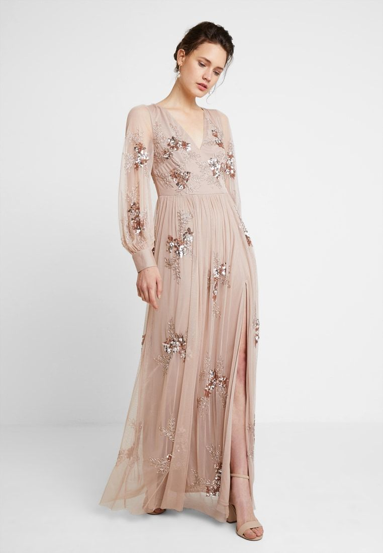 PLUNGE FRONT ALL OVEREMBELLISHED MAXI DRESS WITH SPLIT - Occasion