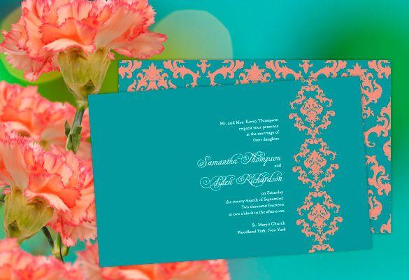 Color Monday Damask Elegance Wedding Invitation Damasks