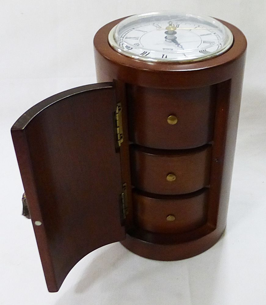 Bombay company 6HKS 3 drawer clock jewelry box wood Drawers