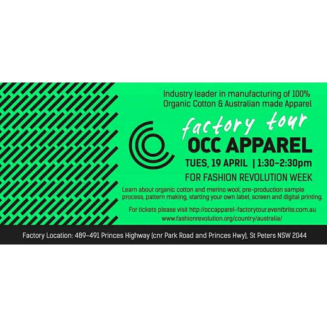 Meet our Deadstock Fabric Partners - OCC Apparel!  If your in Sydney go and check out behind the scenes of AARLI deadstock fabric partners who are hosting a Fashion Revolution event today.  Learn about organic cotton  merino wool pre-production sample process pattern making and screen / digital printing.  EVENT DETAILS: Date: Tuesday 19 April 2016 Time: 1:30pm to 2:30pm Factory Tour: OCC Apparel  Address: 489-491 Princes Highway St Peters Sydney NSW Tickets Available…