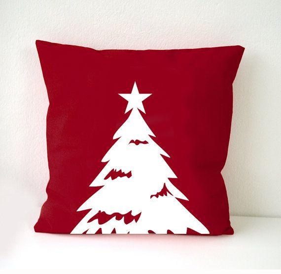 Christmas Decorative Pillow Cases : Christmas themes Pillow Cover, Christmas Tree pillow case, white Christmas tree on red cushion ...