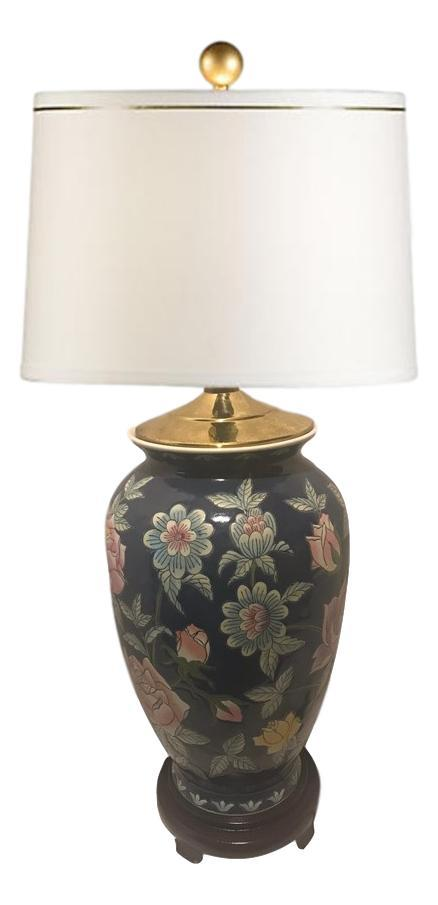 Vintage Chinoiserie Chic Ginger Jar Lamp Floral Scene Please Note