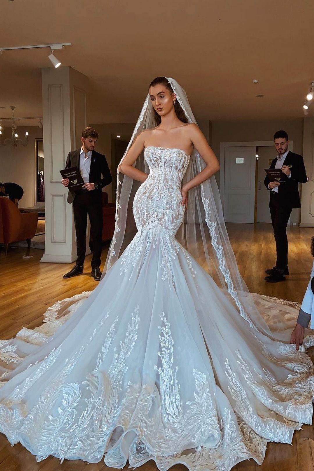 Valdrin Sahiti Bridal Gown Wedding Dress Necklines Long Train Wedding Dress Strapless Wedding Dress Mermaid [ 1620 x 1080 Pixel ]