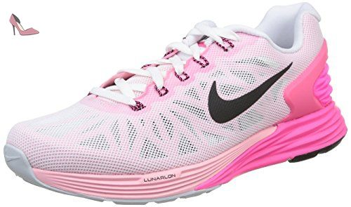 Nike Lunarglide 6, Running Entrainement Femme, Blanc (white/black/pink Pow