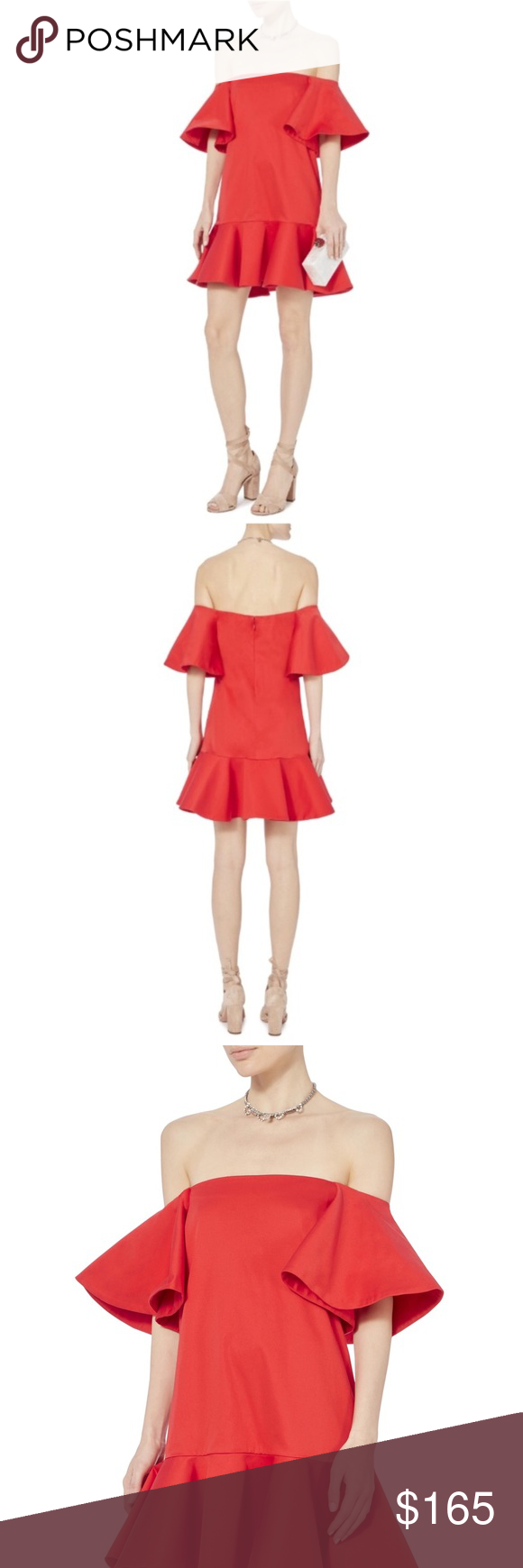 eeaa6fdfd29 Women s Off Shoulder Dress Alexis Red Aliana Off Shoulder Dress. With a  pretty satin finish