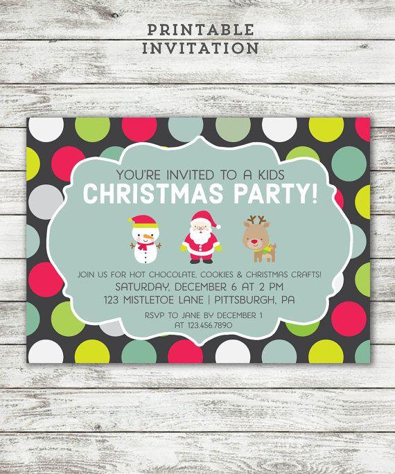 kids christmas party invitation printable invite cute christmas invitation