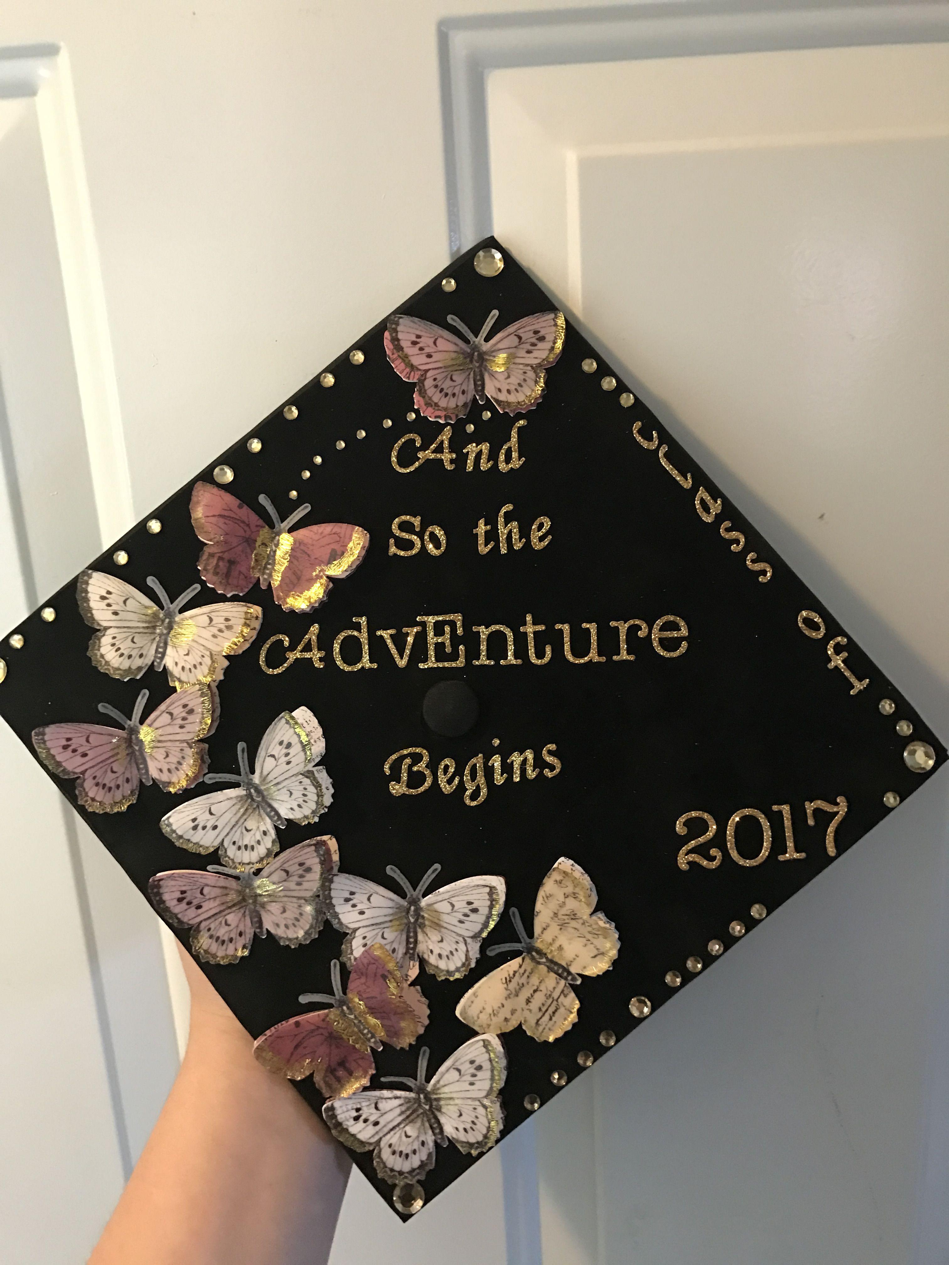 Nice Graduation Cap Black So Adventure Begins Graduation Cap Black Sale So Decorated Graduation Caps S Decorated Graduation Caps ideas Decorated Graduation Caps