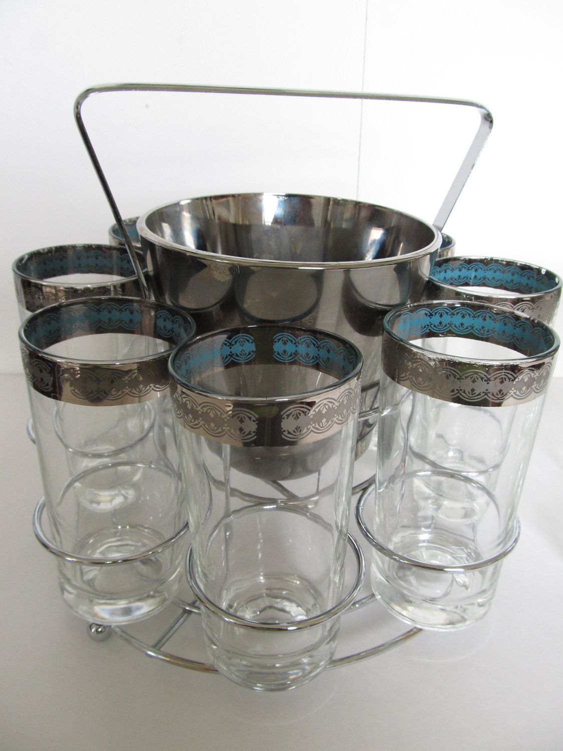 Charming Vintage Barware Set  12 Highball Glasses, Ice Bucket And Caddy  Mad Men  Barware  1950  Comes With FREE Cocktail Book