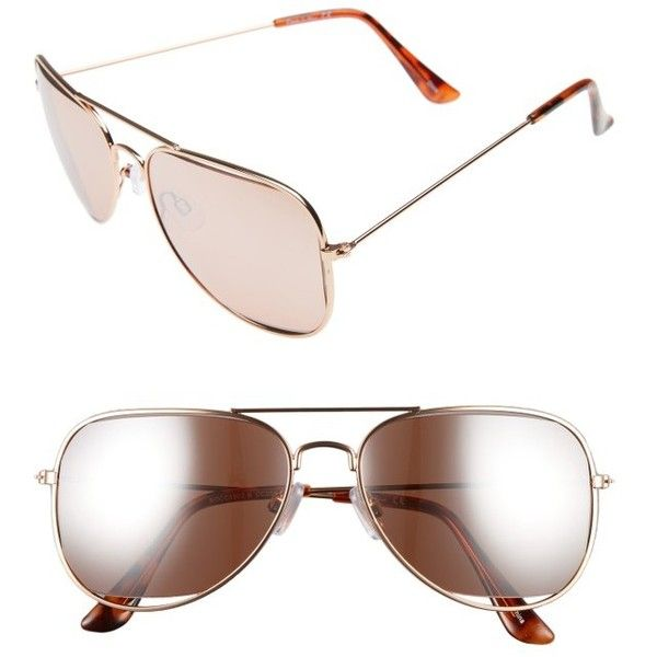 Women's Circus By Sam Edelman 53Mm Aviator Sunglasses (€34) ❤ liked on Polyvore featuring accessories, eyewear, sunglasses, rose gold, aviator sunglasses, circus by sam edelman, rose gold glasses, rose gold sunnies and rose gold sunglasses