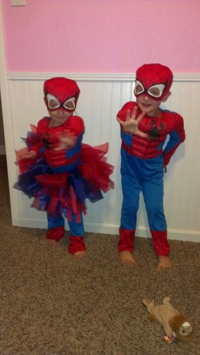 Boy girl twin Spiderman this year s Halloween costumes I