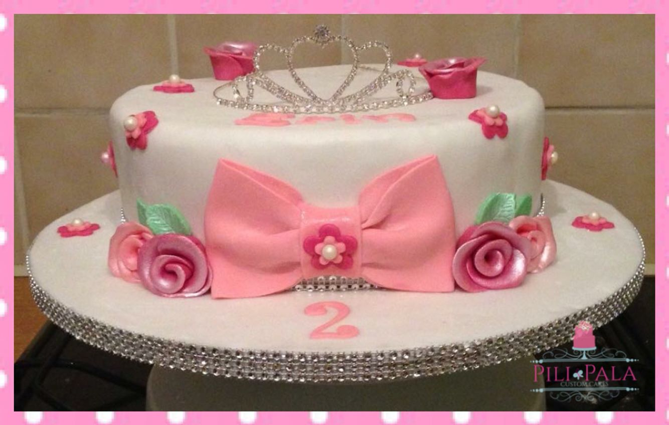 Princess Themed 2nd Birthday Cake With Flowers Tiara And A Big Pink