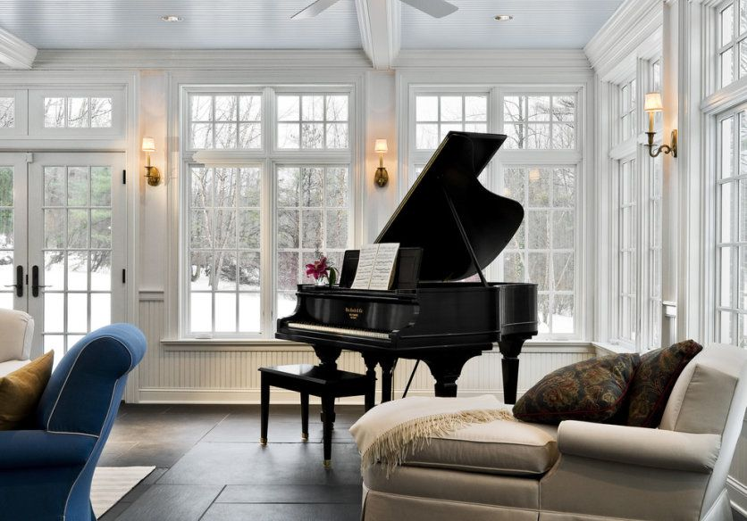 How To Arrange The Grand Piano In Room Interior Design Black Piano In White Room With Great Recessed Lights Piano Room Design Grand Piano Room Sunroom Designs