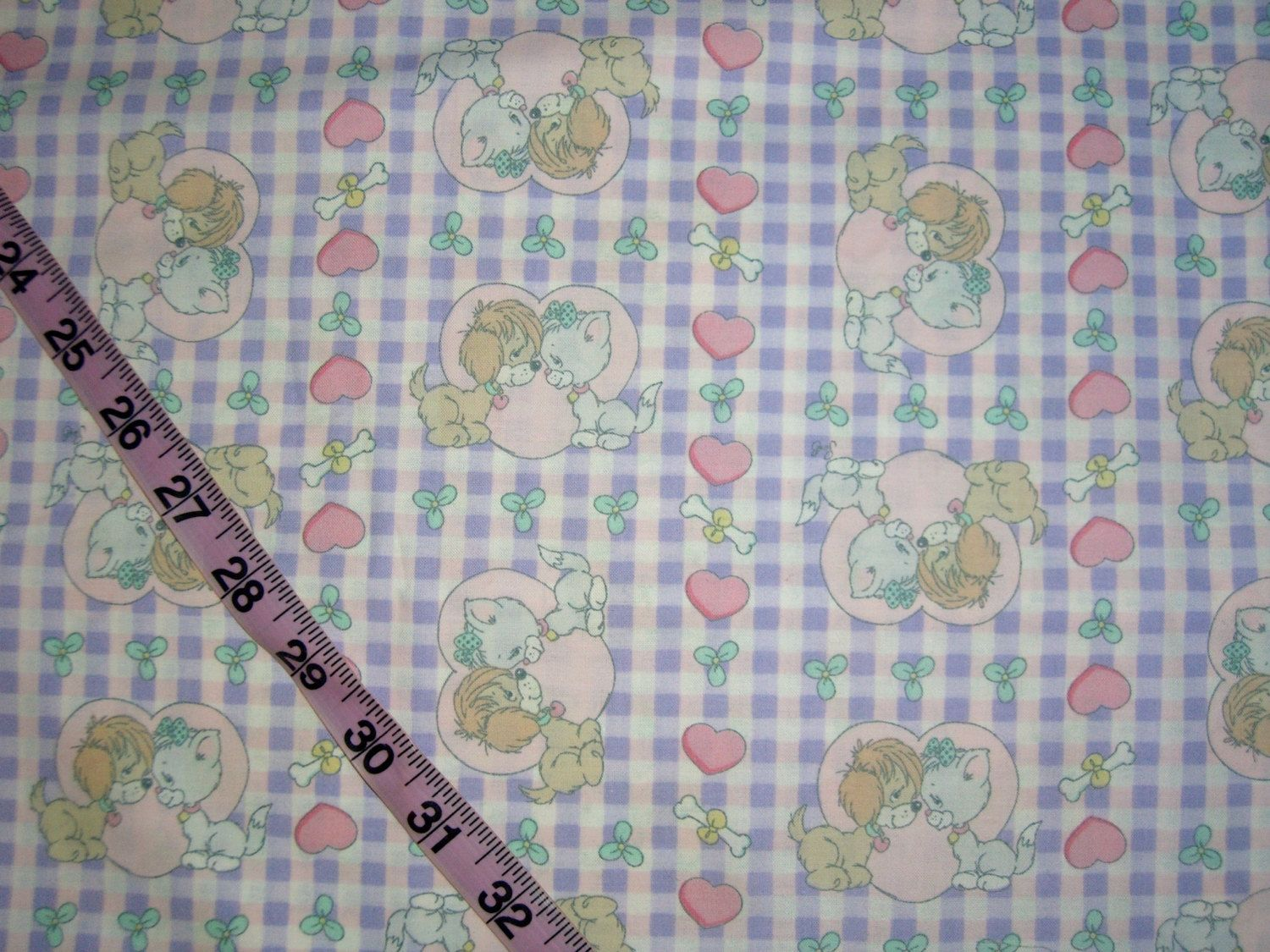 precious moments fabric puppy dog kitty cat heart cotton print