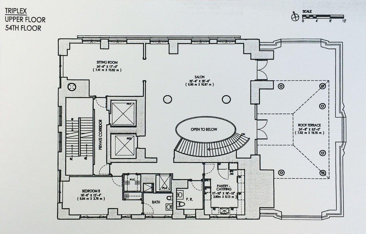 The Floorplan for 520 Park's 130 Million Triplex