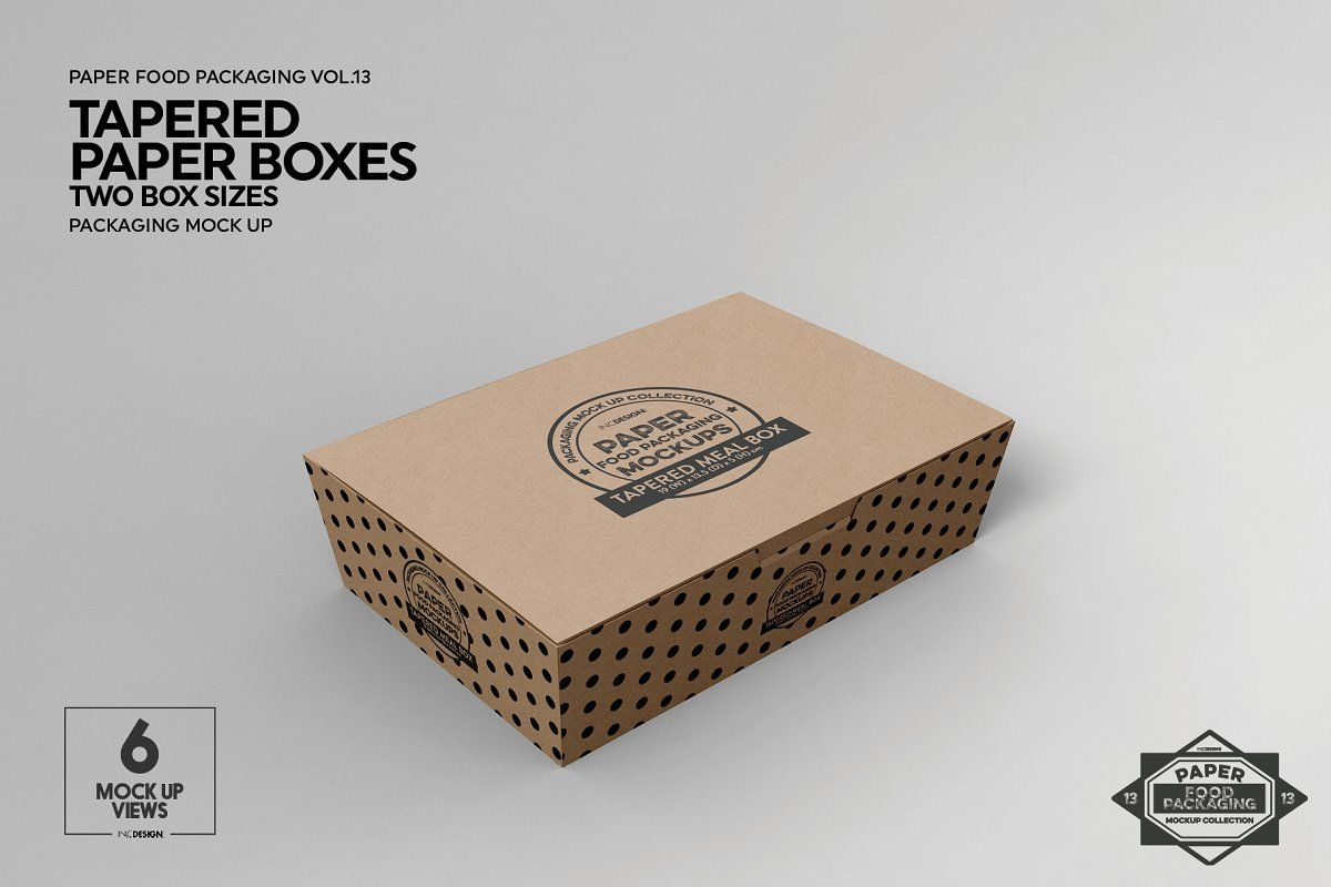 Download Paper Tapered Takeout Boxes Mockup Food Box Packaging Packaging Mockup Box Packaging