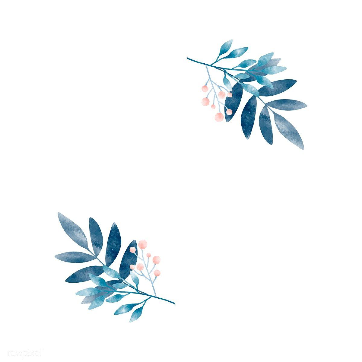 Download premium vector of Watercolor leaves with berries