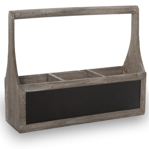 Wooden Rect Three Compartment Planter with Handle 15in