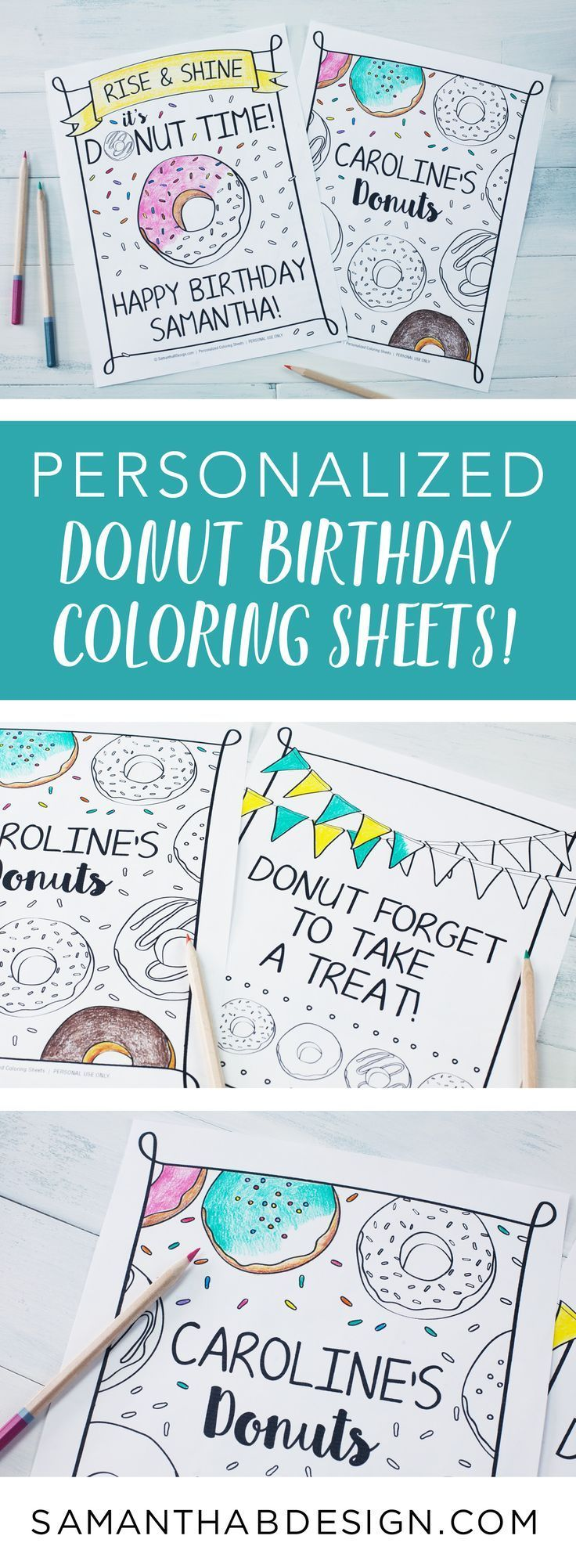 Donut coloring sheets make a great donut party activity or party