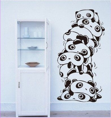 Cute Stacked Panda Wall Decal Bed Room Home By