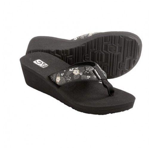 Teva Mandalyn Mush Wedge 2 Sandals Flip Flops Thongs Womens Palm Flower Black #Teva #PlatformsWedges
