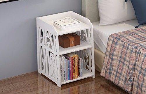 Nightstand Bed Table Bedroom Side End Cabinet Bedside White Living