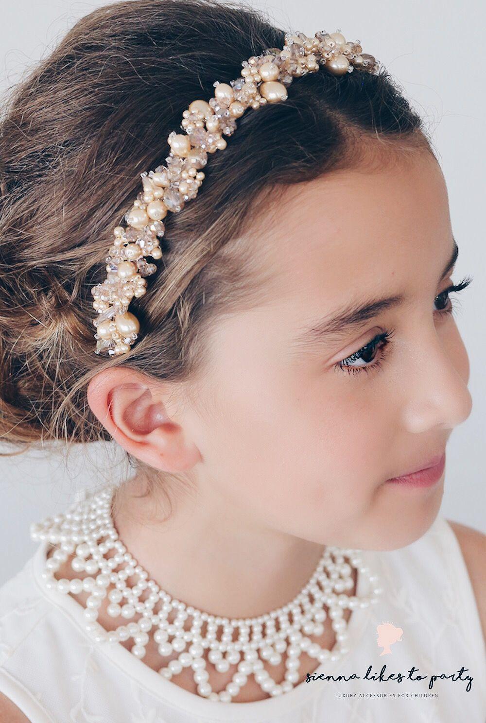 Children Kids Wedding Bridal Women Girls Crown Wave Headband Pearl Hair Band