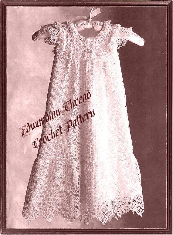 Crochet Pattern Lacy Vintage Christening Gown Bonnet