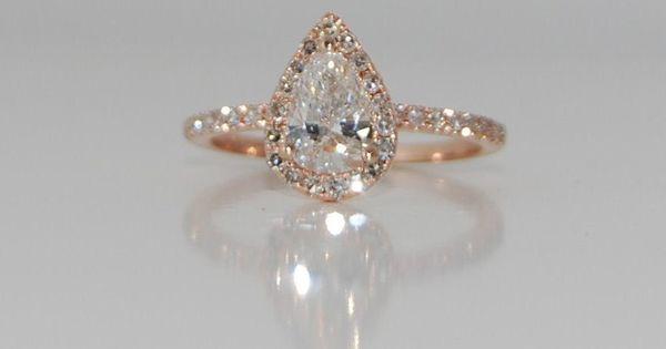 Rose gold diamond ring pear cut diamond. 1.02ct White F/VS2 diamond ring. Engagement rings by Eidelprecious   Rain Drops, Rose Gold Rings and Rose Gold