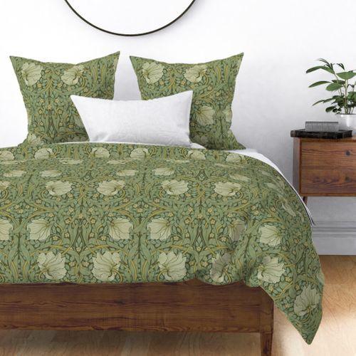 Colorful Fabrics Digitally Printed By Spoonflower William Morris Pimpernel Original In 2021 Green Duvet Covers Green Duvet Floral Duvet Cover