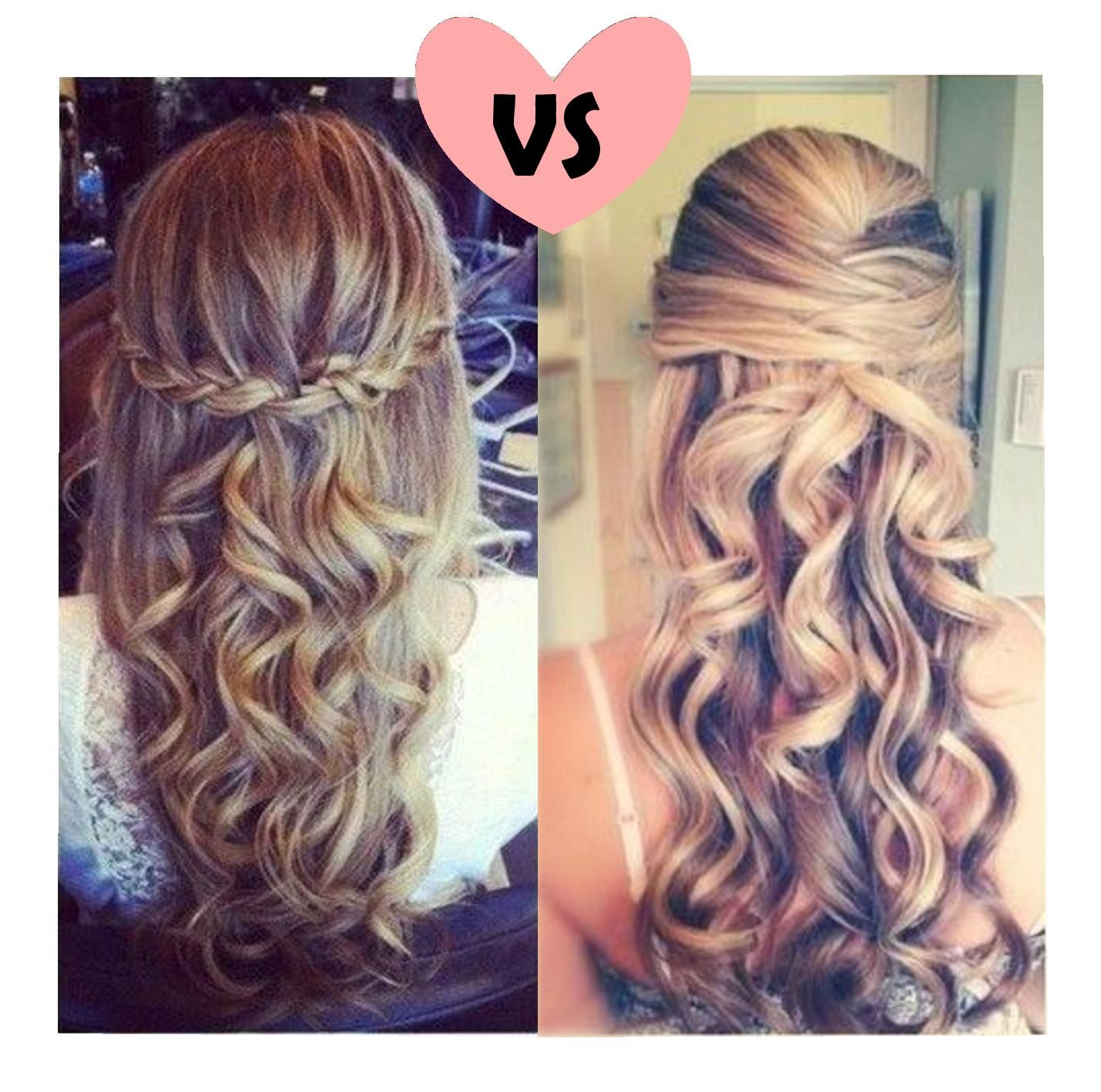 Love The Left Hairstyle Super Easy And Cute Pin And Curl Hairstyle For Prom Hair Styles Simple Prom Hair Prom Hair Down