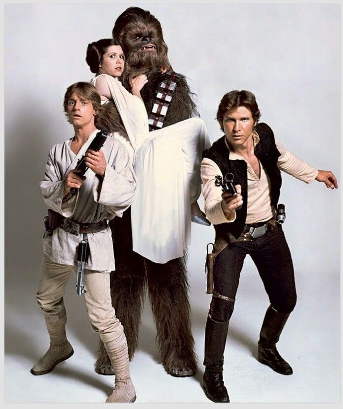 Luke Skywalker ( Mark Hamill) Princess Leia (Carrie Fisher) Chewbacca (Peter Mayhew) Han Solo (Harrison Ford)