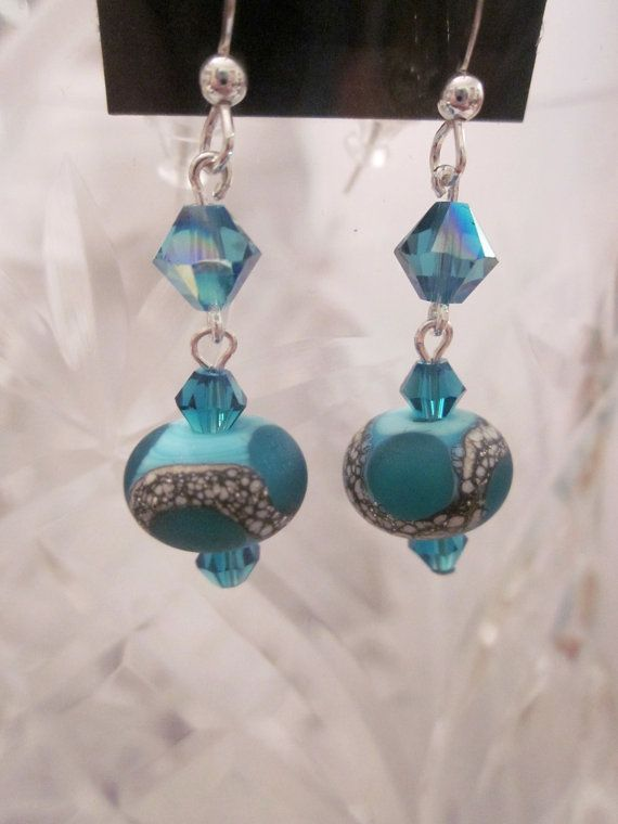 Beautiful Purple Handmade Cone Lampwork Bead and Sterling Dangle Handcrafted Artisan Earrings