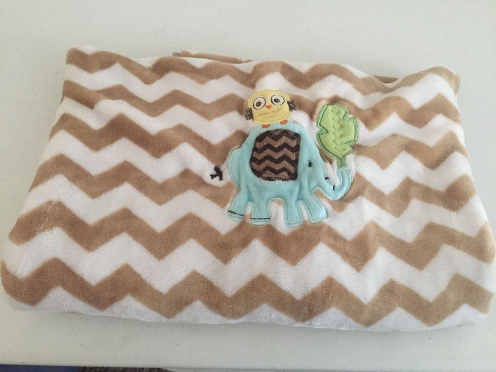 Circo Baby Blanket Brown White Chevron Zig Zag Elephant Bird Blue Baby Target   eBay