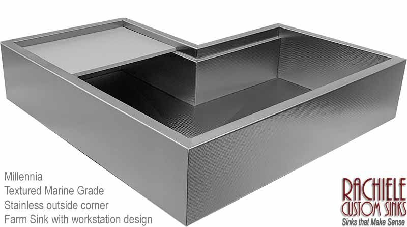 Two User Outside Corner Single Bowl Textured Stainless Steel Workstation Sink Handcrafted Exclusively By Rachiele Corner Sink Kitchen Kitchen Sink Design Sink