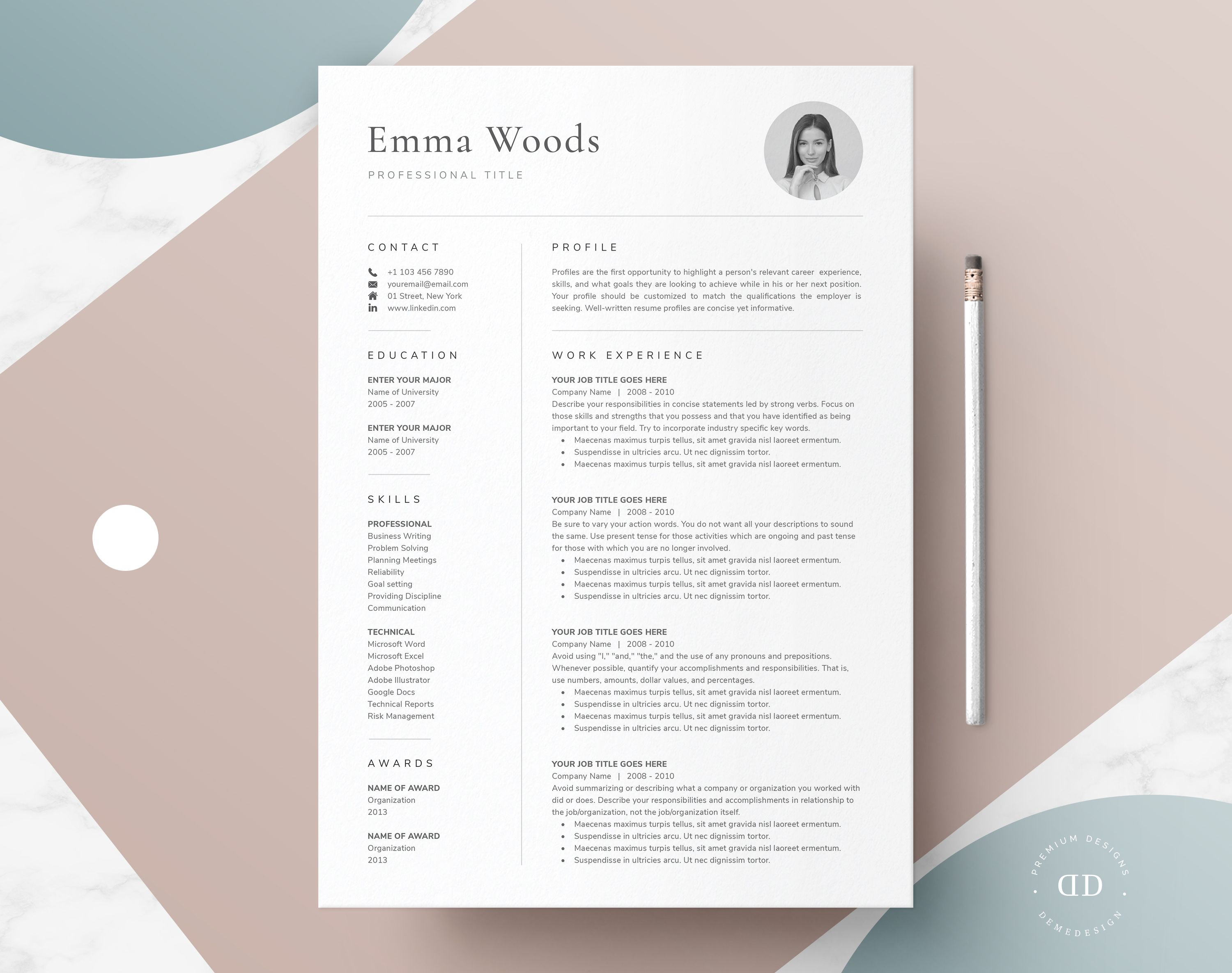 One Page Resume Template With Photo For Word Pages Cover Letter