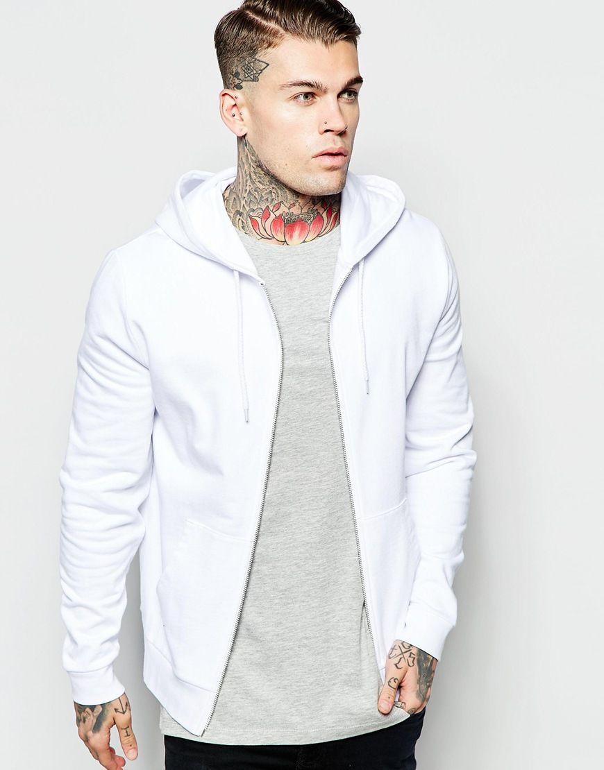 Image 1 ofASOS Zip Up Hoodie In White