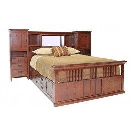 San Mateo Oak Mid Wall Queen Bed With Pedestal   Beds   Bedroom Sets   Shop