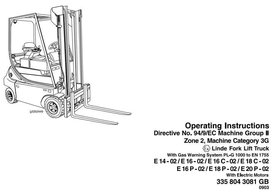 Linde Explosion Proof Lift Truck 33502 Series E14E16E16CE18C