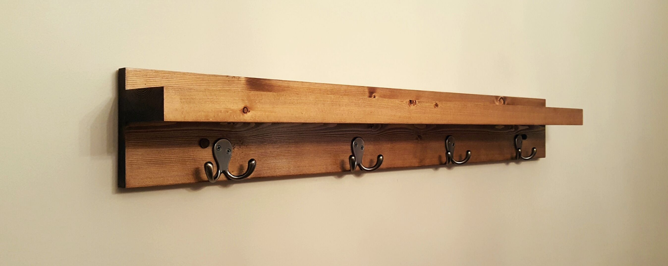 "40"" Wooden coat rack w/shelf and 4 double hooks"