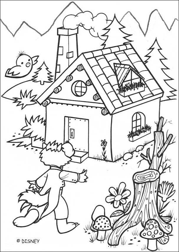Dibujo para colorear : Lobo y la casa de ladrillo | Contes ...