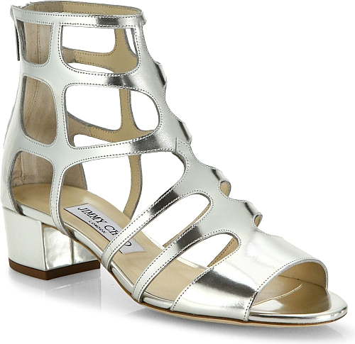 Jimmy Choo Women's Shoes in Silver Color. Caged metallic leather sandal set  on low block