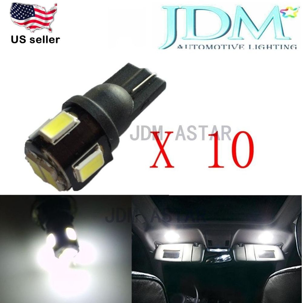 JDM ASTAR 10xLatest 5630 T10 6-SMD 194 168 2825 White Car License Light LED Bulb #JDMASTAR